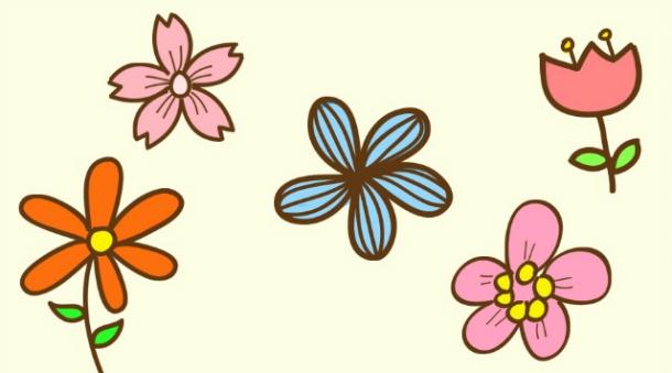 今天的教程是一些花朵,其实蛮简单,都是由圆形,弧线,直线构成,很容易图片